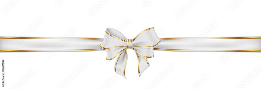 Fototapeta Weiß Schleife mit Naht. White satin ribbon and bow vector illustration.