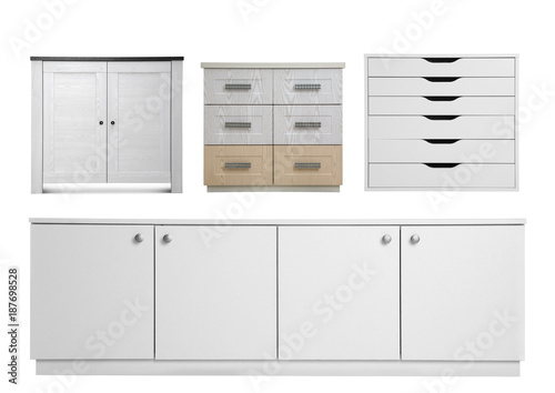 Fototapeta Set of modern wardrobes on white background