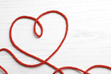 Heart Made Of Red Rope On Whit...