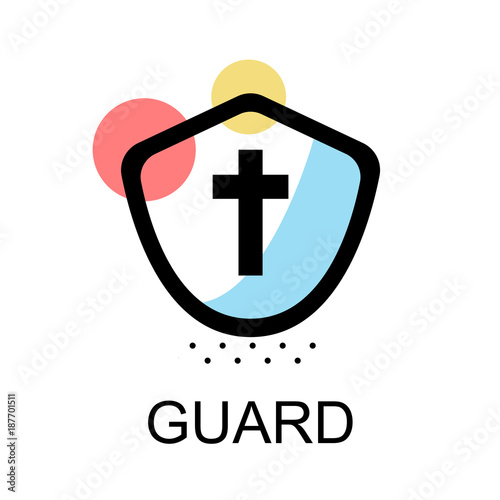 Photographie Gaurd icon for sccess on white background