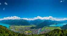 The Beautiful Panorama Of Interlaken Valley And Thunersee River Through The City