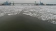 Aerial View of Frozen Delaware River Philadelphia