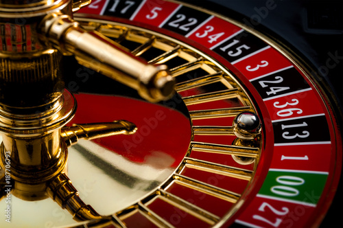Fotografia Lucky thirteen and casino gambling concept with a closeup on a section of the of