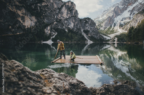 Tuinposter Grijze traf. Amazing view of Lago di Braies (Pragser Wildsee), most beautiful lake in South Tirol, Dolomites mountains, Italy. Popular tourist attraction. Beautiful Europe.