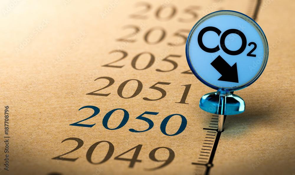 Fototapeta 2050 climate plan, reduce carbon dioxide footprint.