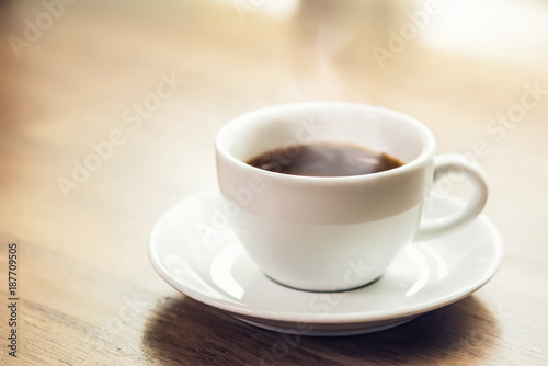 Hot black espresso coffee in the cup