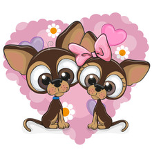 Two Dogs On A Heart Background