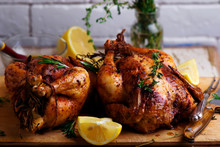 SUMAC ROAST CHICKEN WITH LEMON AND GARLIC.