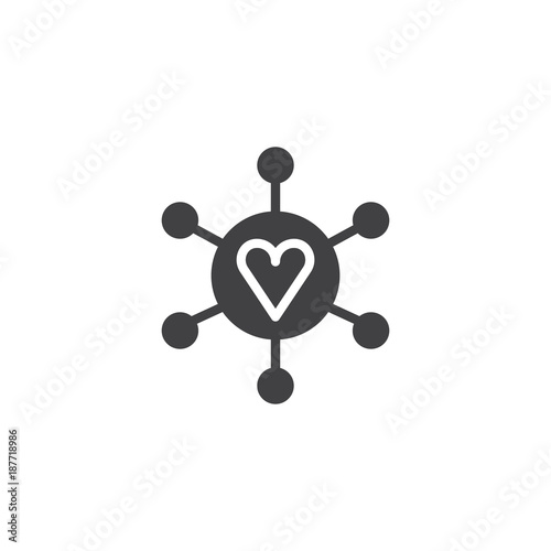 Connected Loving Heart Icon Vector Filled Flat Sign Solid