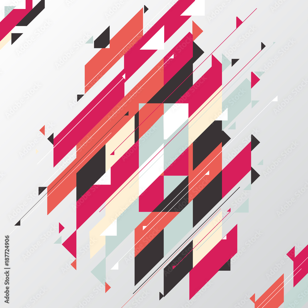 Abstract Geometric Modern Diagonal And Triangle Element Red