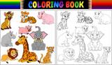 Fototapeta Fototapety na ścianę do pokoju dziecięcego - Coloring book with wild animals cartoon