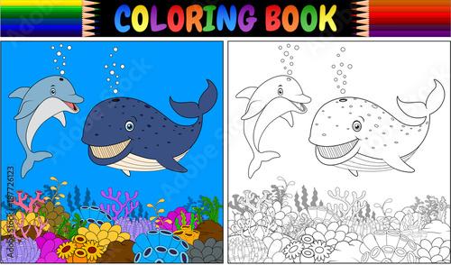 Naklejka premium Kolorowanka z kreskówki delfinem i wielorybem