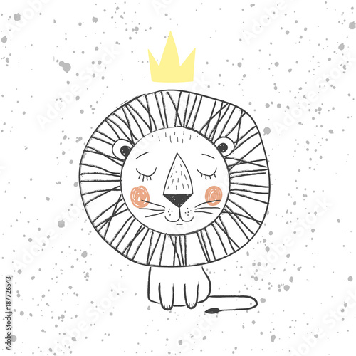 Hand drawn king lion for kids T-shirt design, greeting card with blur background, cute childish king of the jungle - vector illustration