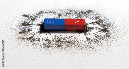 Red and blue bar magnet or physics magnetic with iron powder magnetic field on white background. Scientific experiment in science class in school.