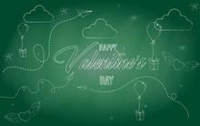 "Icons ""Happy Valentine's Day"". Sketch. Vector Illustration. White Chalk On A Blackboard. Doodles. EPS 10. Vector Illustration."