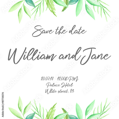 Wedding Invite Invitation Template With Hand Drawn Watercolor