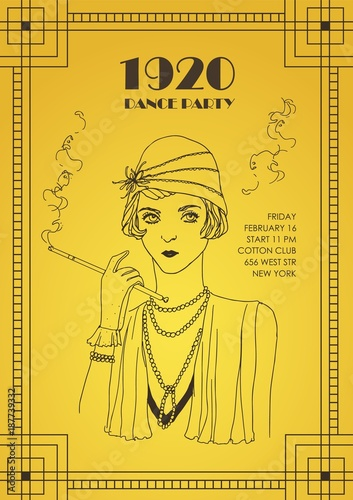 Flyer Or Poster Template With Flapper Girl Dressed In Retro Clothing