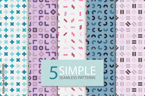 Collection of colorful seamless memphis patterns. Simple geometric backgrounds