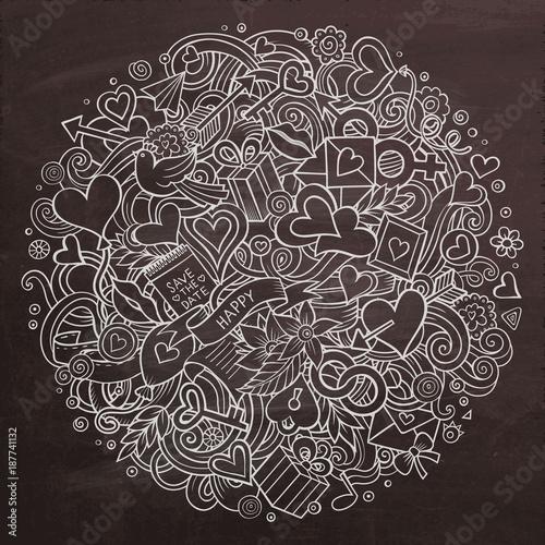 Photo  Cartoon vector hand drawn Doodle Love illustration