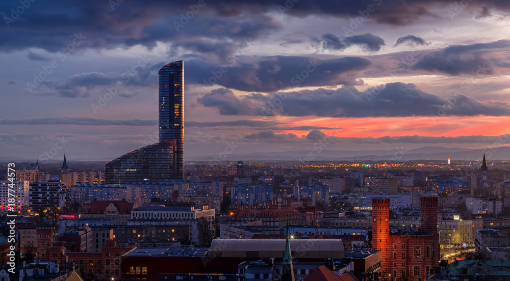 Fototapety, obrazy: Wroclav Sky Tower center after the sunset, Poland