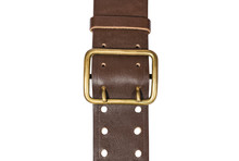 Brown Leather Belt With Metal ...