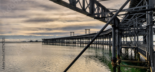 Panoramic view of historic Rio Tinto pier in Huelva, Andalusia, Spain.