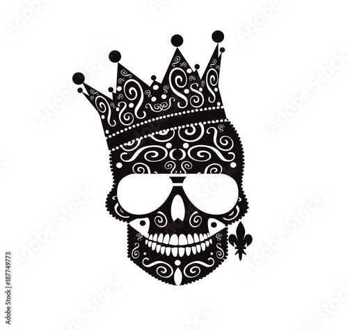 King skull icon with crown and earing with ornament details   Fototapete