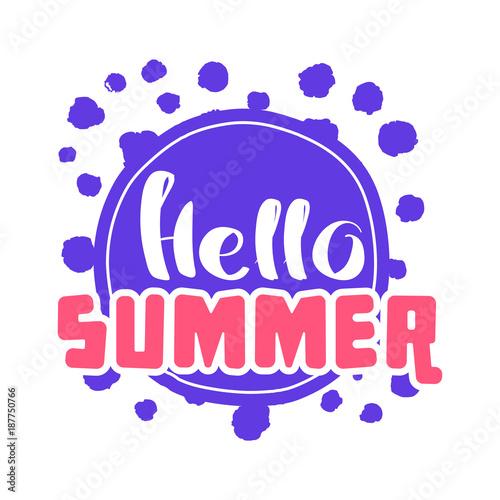 Staande foto Retro sign Hello Summer on color circle.