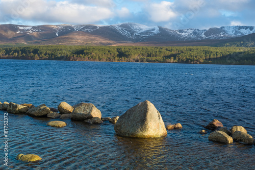 Loch Morlich (Mhurlaig)near Aviemore within the Cairngorms National Park in the Highlands of Scotland Wallpaper Mural