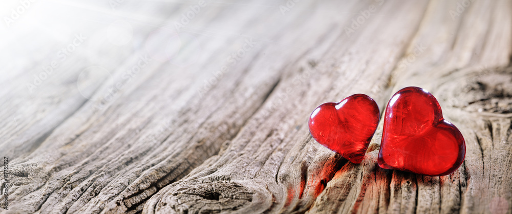 Fototapeta Valentines Day Background Two Red Hearts On Vintage Wooden Table