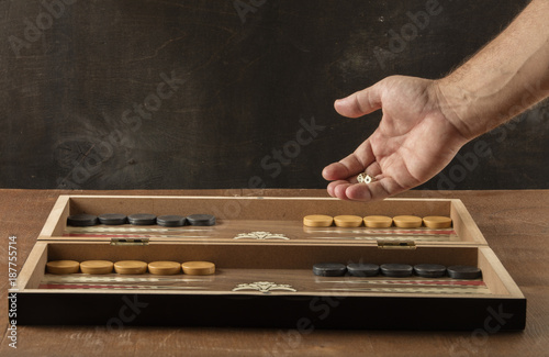 Vászonkép backgammon game with two dice