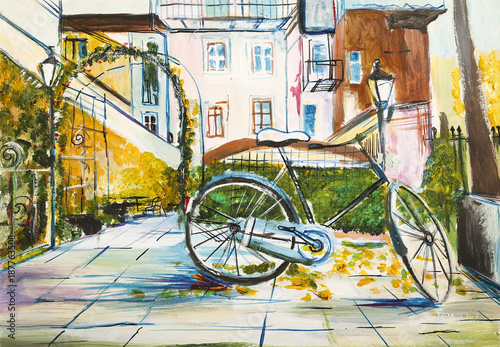 Zakątek miejski - pejzaż ręcznie malowany - fototapety na wymiar