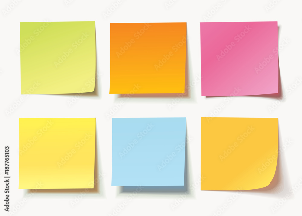 Fototapeta Set of different colored sheets of note papers