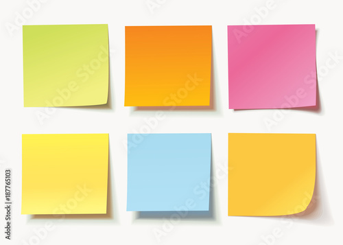 Fotomural  Set of different colored sheets of note papers