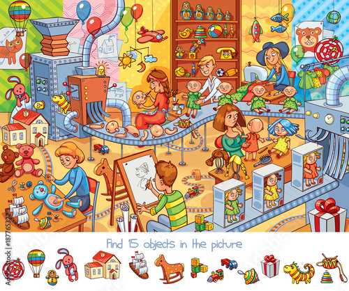 Cuadros en Lienzo Toy factory. Find 15 objects in the picture