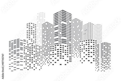 City Skyscrapers illustration. High Buildings at night. Urban scene. Abstract vector design element isolated on white background.