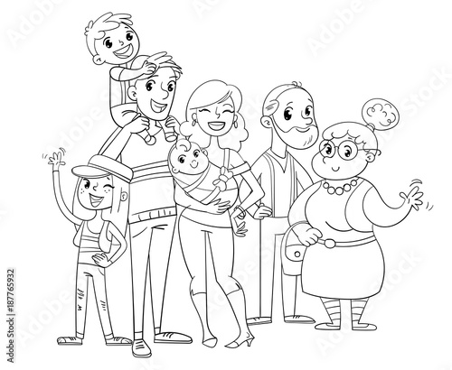 My big family posing together. Coloring book - Buy this stock vector ...