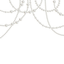 Pearl. Beads. Jewelry. Decoration. Vector. White Background.