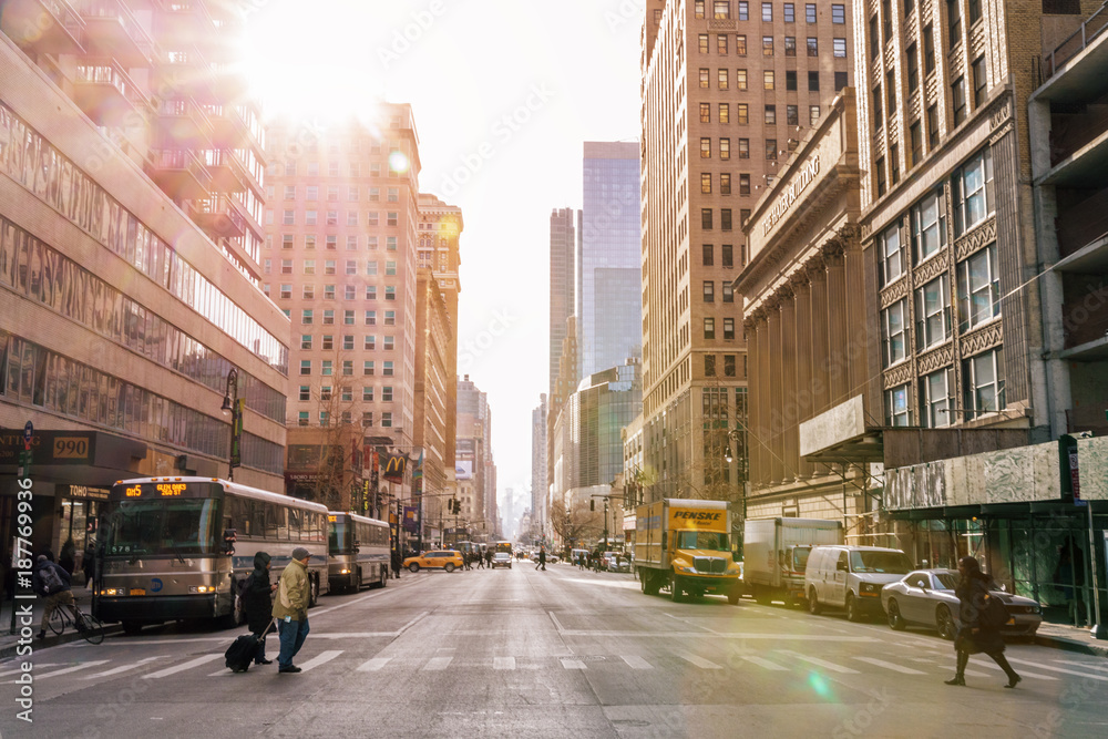 Fototapety, obrazy: NEW YORK CITY - Januar 3: Taxi cars street, a busy tourist intersection of commerce Advertisements and a famous street of New York City and US, seen on Januar 3, 2018 in New York, NY.