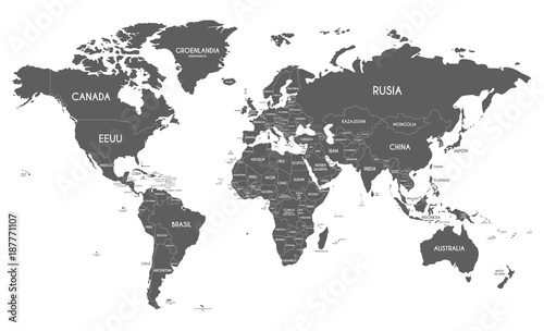 Political World Map vector illustration isolated on white ...