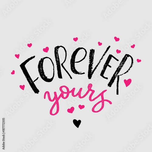 Forever Yours Cards For Valentines Day Hand Drawn Brush Lettering