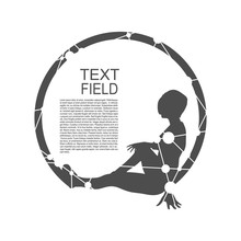 Sporty Woman Silhouette. Short Hair Girl Sit In The Circle. Relax Pose. Monochrome Emblem For Spa Saloon Or Yoga Center With Field For Text