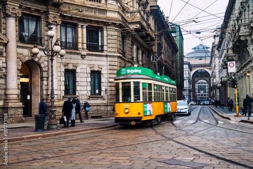 Garden Poster Milan Yellow tram in the historical center of Milan, Italy