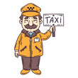 Happy taxi driver. Isolated objects on white background. Cartoon vector illustration.