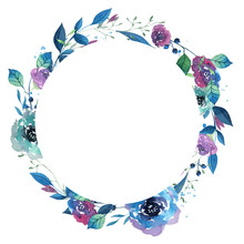 Watercolor Wreath With Flowers...