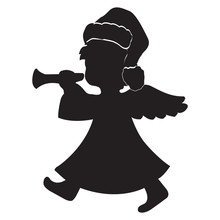 Vector Image Of A Silhouette Of An Angel