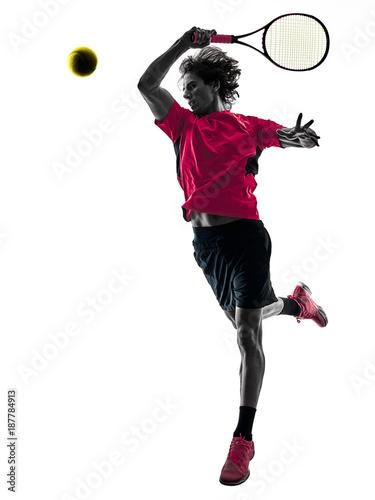 one caucasian hispanic tennis player man in studio silhouette isolated on white background