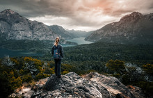 Woman Hiker Stands And Enjoys ...