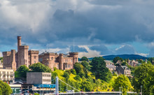 """Inverness (Inbhir Nis, """"Mouth Of The River Ness"""") The Capital Of The Scottish Highlands With The Inverness Castle On A Cliff Overlooking The River Ness."""