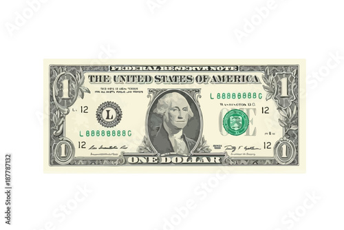 Fototapeta 1 highly detailed dollar banknote. Vector Illustration obraz